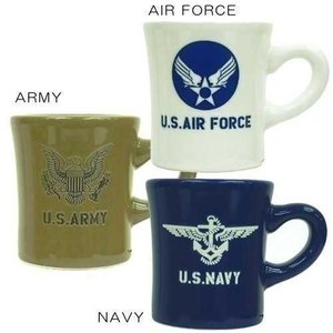 AIRFORCE U.S.ARMY U.S.NAVY ミリタリーマグカップ 陶器製 MadeinJapan アメ雑食器 プレゼント 結婚祝い|velkommen