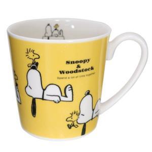 マグカップ 磁器製 たっぷり MUG ピーナッツ スヌーピー &ウッドストック 金正陶器 350ml キャラクター|velkommen