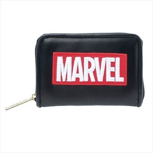 小銭入れ カード&コインケース MARVEL ボックスロゴ 合皮ブラック マーベル クラックス 12×7.5×2.5cm ギフト雑貨 キャラクター|velkommen