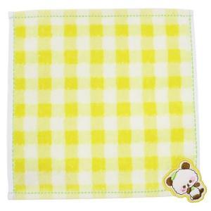 ミニタオル はみ出しワッペン付き ジャガード ちびタオル もじもじぱんだ クラックス 20×20cm