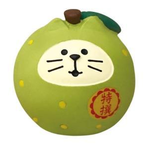 いもくりこんこん みのりの秋 フルーツ猫だるま 梨 マスコット concombre デコレ インテリア プレゼント かわいい velkommen