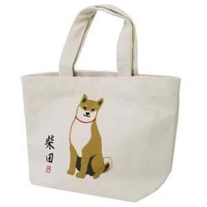 柴田さんの住む東京わさび町 帆布 ミニトート ランチバッグ さんぽですか? FRIENDSHILL 柴犬 30×20×10cm velkommen