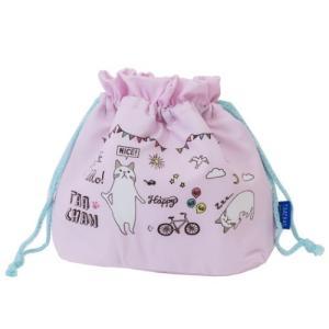 お弁当 きんちゃくポーチ 柴田さんの住む東京わさび町 ターチャンデイズ ピンク 保冷 ランチ巾着 ねこ FRIENDSHILL 28×21×10cm velkommen