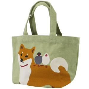 柴田さんの住む東京わさび町 帆布 ミニ トート なかよし しばたけ ベージュ ランチバッグ 柴犬 FRIENDSHILL 30×20×10cm お弁当かばん velkommen