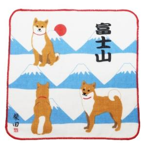 柴田さんの住む東京わさび町 片面ガーゼ ハンカチタオル あさひふじしばた ミニタオル 柴犬 FRIENDSHILL velkommen
