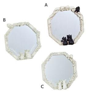 インテリア雑貨 八角ミラー 鏡 クロネコ うさぎ ブタ ヂャンティ商会 21.5×4.5×22cm