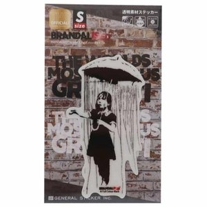 ビッグ シール ダイカット クリア ステッカー バンクシー Umbrella Girl Banksy ゼネラルステッカー|velkommen