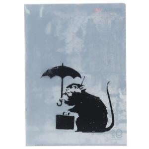 A4 シングル クリアファイル ファイル Umbrella Rat バンクシー Banksy ゼネラルステッカー プレゼント 文具 コレクション おしゃれ|velkommen