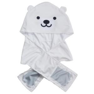 夏用 ひんやり キッズ クールタオル しろくま フード付き 冷感タオル 犬飼タオル 熱中症対策 UVカット velkommen