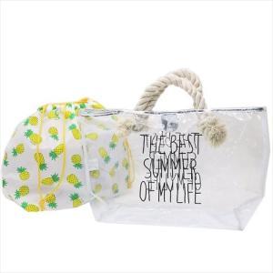 ビニールビーチバッグ 巾着付トート型プールバッグ パイナップル 2018SS カミオジャパン 50×29×15cm|velkommen