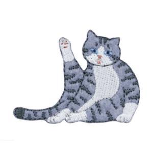 ワッペン 気ままなポーズの猫ワッペン ねこ ネコ7 清原 手芸用品 アイロン接着 シール 入園 入学 保育園 幼稚園 小学生 キッズ 子ども velkommen