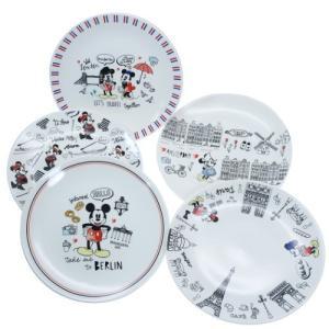 食器ギフトセット ケーキ皿 5枚セット ミッキー&ミニー レッツトラベル 前畑 ディズニー 20cmプレート×5枚 プレゼント|velkommen