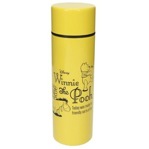 ミニ 保温 保冷 水筒 ポケットステンレスボトル くまのプーさん イエロー D-WP29 前畑 ディズニー 直径4.5×14.5cm 110ml|velkommen
