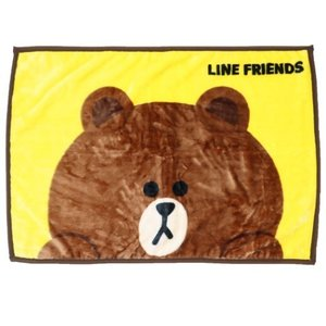 ひざ掛け毛布 マイヤーブランケット LINE FRIENDS ハッピー ブラウン LINEスタンプ 丸眞 velkommen