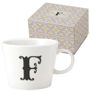 イニシャル ギフトパッケージ マグカップ アルファベット マグカップ 東欧風ALPHABET MUG F お洒落デザイン食器 陶器製|velkommen