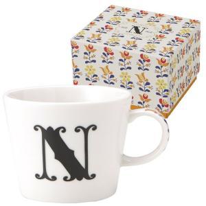 イニシャル ギフトパッケージ マグカップ アルファベット マグカップ N 東欧風ALPHABET MUG お洒落デザイン食器 陶器製 テーブルウェア MADE IN JAPAN/日本製|velkommen