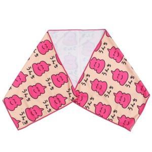 うんちさん ピンク 夏用 ひんやりタオル クールロングタオル オクタニ 30×100cm 熱中症対策 velkommen