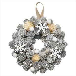 スノーリースS クリスマスリース オフホワイト Xmas パセオ 直径18cm クリスマス用品 velkommen