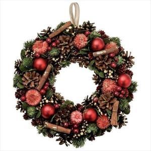 シナモンリースL クリスマスリース レッド パセオ Xmas 直径33cm|velkommen