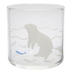 POLAR BEAR ガラスコップ アニマル そばちょこグラス 泳ぐしろくま サンアート 300ml velkommen