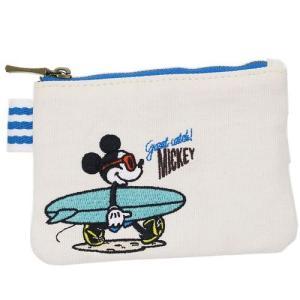 ティッシュポーチ ミニポーチ ミッキーマウス サーフコレクション SHO-BI ディズニー 帆布 13×9×1cm キャラクター|velkommen
