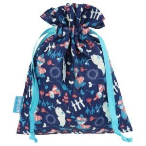 トラベル きんちゃくポーチ 巾着袋 チラシ ネイビー ムーミン 北欧 スモールプラネット プレゼント|velkommen
