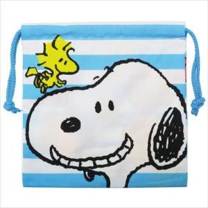 きんちゃくポーチ 巾着袋 ピーナッツ スヌーピー ボーダー スモールプラネット 20×20cm 小物入れの商品画像|ナビ