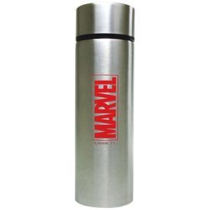 水筒 保冷 ステンレス ボトル ポケトル マーベル ロゴ シルバー ティーズファクトリー ミニボトル 直飲みボトル|velkommen