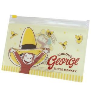 不織布 マスクケース 抗菌 2ポケット クリア ジッパー ポーチ おさるのジョージ 黄色い帽子 ティーズファクトリー 小物入れ|velkommen