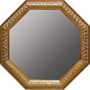 送料無料 風水 八角鏡 アンティーク八角ミラー ゴールド Lサイズ 風水開運鏡 取寄品 プレゼント バースデー 誕生日ギフト|velkommen