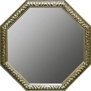 送料無料 風水 八角鏡 アンティーク八角ミラー シルバー&アンティークグリーン LLサイズ 風水開運鏡 取寄品 プレゼント バースデー 誕生日ギフト|velkommen