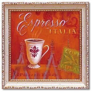カフェ インテリア アートポスター ミニ ゲル アートフレーム エスプレッソ・イタリア アンジェラ・スターリング  ボタニカル 額付きポスター velkommen