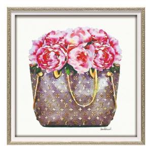 オマージュキャンバスアート アートフレーム アマンダグリーンウッド ピンク ピオニー バッグ スクエアS ユーパワー|velkommen