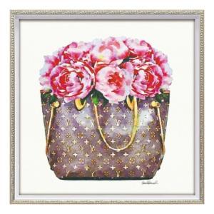 アートフレーム オマージュキャンバスアート アマンダグリーンウッド ピンク ピオニー バッグ スクエアM ユーパワー BC-12099 ギフト 額付きポスター|velkommen