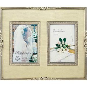 結婚祝い フォトフレーム 写真立て ブライダル リミテッド フォトフレーム シルバー ダブルポストカード|velkommen