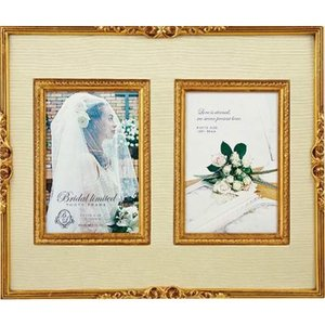 結婚祝い フォトフレーム 写真立て ブライダル リミテッド フォトフレーム ゴールド ダブルポストカード|velkommen
