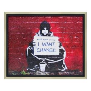 Banksy アートフレーム バンクシー アイ ワント チェンジ ユーパワー BK-10001|velkommen