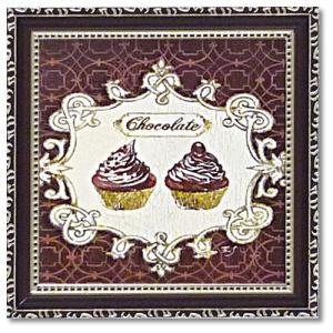 カフェ インテリア アートポスター ミニ ゲル アートフレーム フェリー・ステファニア ギルデッドカップケーキ velkommen