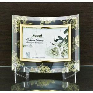 ゴールデンローズガラスフォトフレーム 1ウィンドウ クリア インテリア写真立て 取寄品 バースデー 誕生日ギフト 結婚祝い プレゼント|velkommen