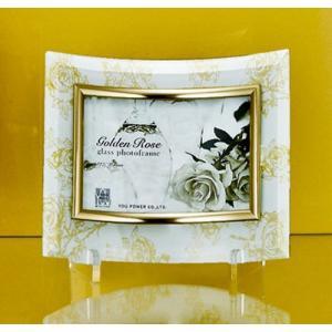 ゴールデンローズガラスフォトフレーム 1ウィンドウ ホワイト インテリア写真立て 取寄品 バースデー 誕生日ギフト 結婚祝い プレゼント|velkommen