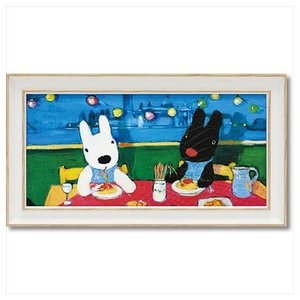 アート フレーム S ワイド フレンチ アート 額付ポスター だいすきなスパゲッティ リサとガスパール ユーパワー 34×18.5cm velkommen