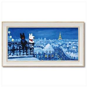 フレンチ アート 額付ポスター アート フレーム S ワイド リサとガスパール パリの天窓から ユーパワー 34×18.5cm velkommen