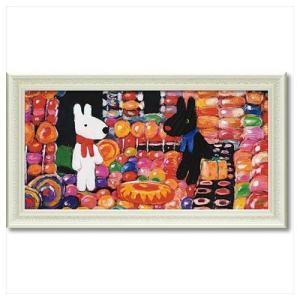 フレンチ アート 額付ポスター アート フレーム L ワイド リサとガスパール キャンディーハウス ユーパワー 67.5×37.5cm velkommen