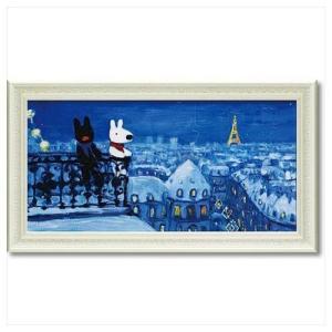 フレンチ アート 額付ポスター アート フレーム L ワイド リサとガスパール パリの天窓から ユーパワー 67.5×37.5cm velkommen