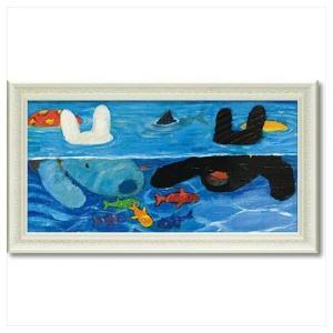 フレンチ アート 額付ポスター アート フレーム L ワイド リサとガスパール プールあそび ユーパワー 67.5×37.5cm 可愛い ギフト velkommen