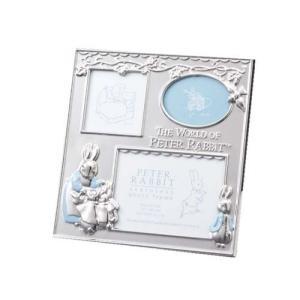 ピーターラビット ステンレスファミリーフォトフレーム 3窓 絵本キャラクター写真立て 取寄品 バースデー 誕生日ギフト プレゼント|velkommen