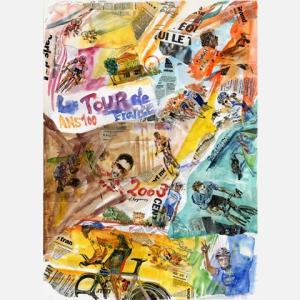 小河原政男 アートフレーム「TOUR03コラージュ」【自転車】 ※レターパック対象外|velove