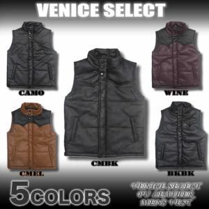 VENICE SELECT/VNC39301/PUレザー/ウエスタンヨーク切り替え中綿ダウンスタイルベスト|venice
