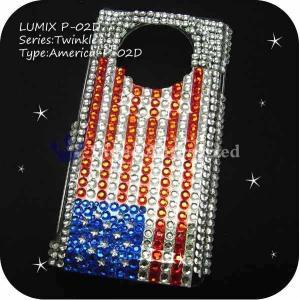 LUMIX Phone P-02D/101P ケースカバー スワロフスキー風キラキララインストーンデコ電AMERICA-P02D|venus-hk