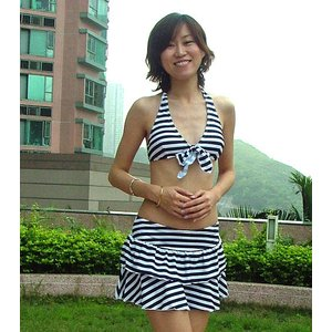 水着レディースストライプビキニ&スカート3点セットBORACAY 超お買い得SALE!|venus-hk